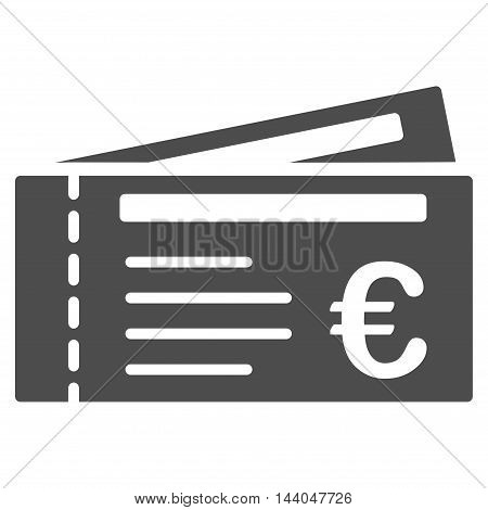 Euro Tickets icon. Glyph style is flat iconic symbol, gray color, white background.