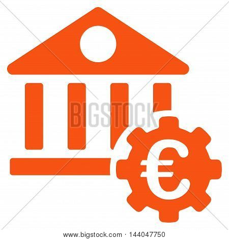 Euro Bank Building Options icon. Glyph style is flat iconic symbol, orange color, white background.