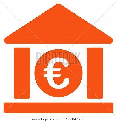 Euro Bank Building icon. Glyph style is flat iconic symbol, orange color, white background.