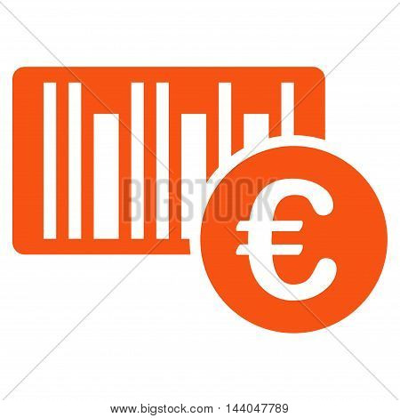 Euro Bar Code Price icon. Glyph style is flat iconic symbol, orange color, white background.