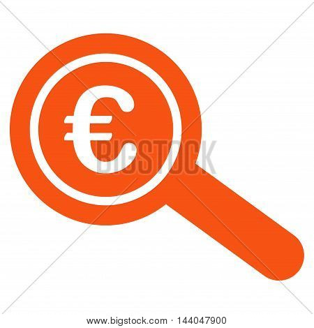 Euro Financial Audit icon. Glyph style is flat iconic symbol, orange color, white background.