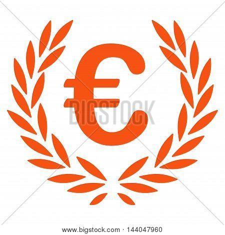 Euro Laurel Wreath icon. Glyph style is flat iconic symbol, orange color, white background.