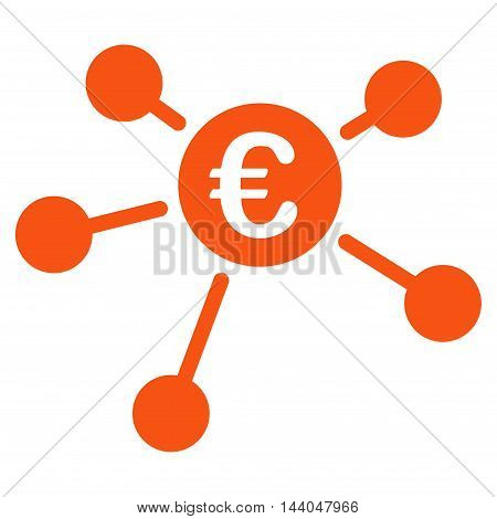Euro Links icon. Glyph style is flat iconic symbol, orange color, white background.