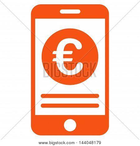 Euro Smartphone Banking icon. Glyph style is flat iconic symbol, orange color, white background.