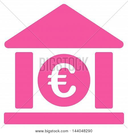Euro Bank Building icon. Glyph style is flat iconic symbol, pink color, white background.