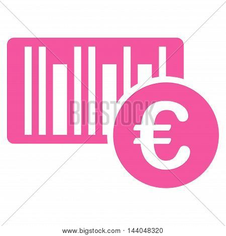 Euro Bar Code Price icon. Glyph style is flat iconic symbol, pink color, white background.