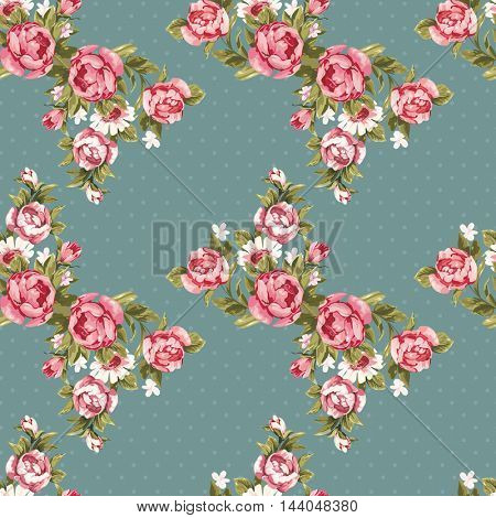 Seamless floral pattern with red peony Vector Illustration EPS8