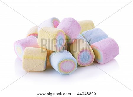 Closeup marshmallows isolated on white background. food