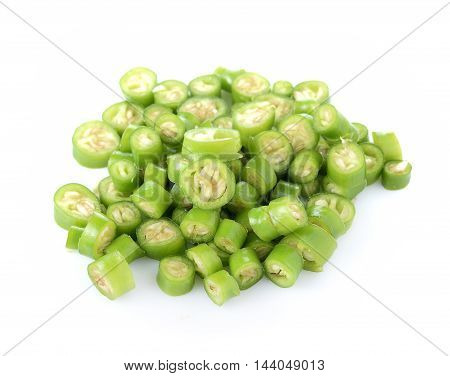 Closeup Green chili peppers on white background