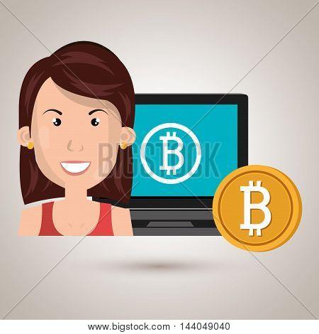 woman laptop bitcoin online vector illustration eps 10