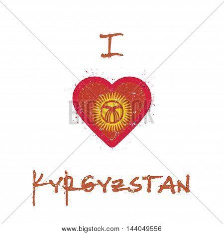 I Love Kyrgyzstan T-shirt Design. Kirghiz Flag In The Shape Of Heart On White Background. Grunge Vec