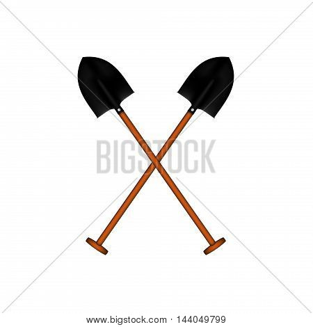 Two crossed garden spadefuls with wooden handle on white background