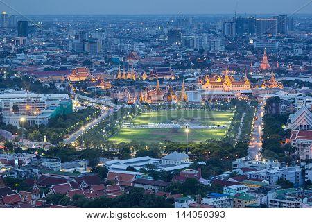 Grand palace and wat phra kaew at twilight in Bangkok Thailand