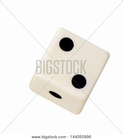 Floating white dice, numbers one and two