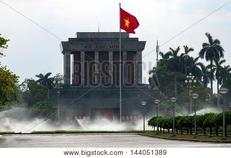 HA NOI, VIET NAM, August 23, 2016. morning. Side view of the Ho Chi Minh mausoleum in Hanoi Vietnam.