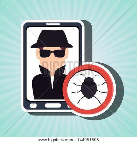 man smartphone detective secure vector illustration eps 10