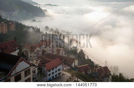 SAPA, VIETNAM February 14, 2016 the town of Sa Pa, Vietnam, morning fog