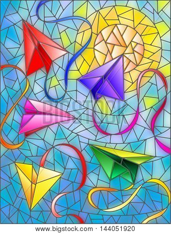 Illustration in stained glass style with paper planes and ribbons on background of sky and sun