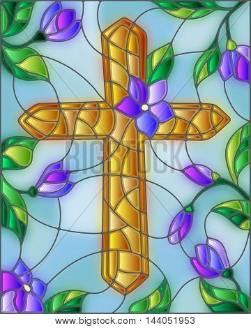 Stained glass illustration with a golden cross in the sky and flowers