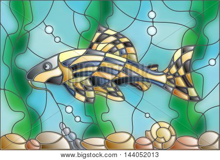 Illustration in stained glass style with a catfish on the background of water and algae