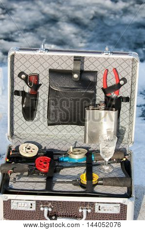 Briefcase With Accessories Fishing Ice Fishing. Kazakhstan, Almaty Region, Bakanas,