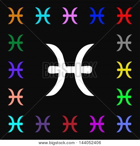 Pisces Zodiac Sign Icon Sign. Lots Of Colorful Symbols For Your Design. Vector
