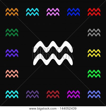 Aquarius Icon Sign. Lots Of Colorful Symbols For Your Design. Vector