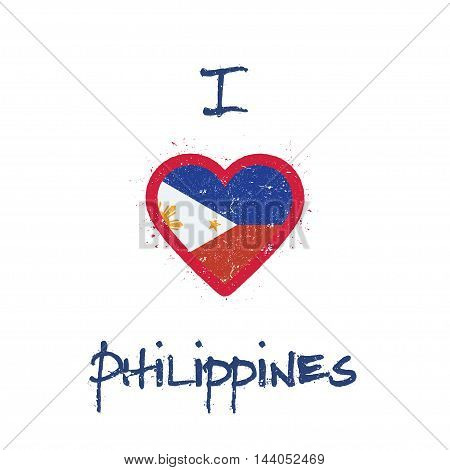 I Love Philippines T-shirt Design. Filipino Flag In The Shape Of Heart On White Background. Grunge V