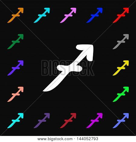 Sagittarius Icon Sign. Lots Of Colorful Symbols For Your Design. Vector