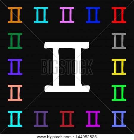 Gemini Icon Sign. Lots Of Colorful Symbols For Your Design. Vector