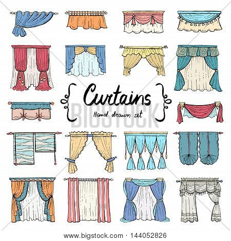 Vector set with hand drawn colored doodles on the theme of decoration and interior. Illustrations of curtains. Sketches for use in design