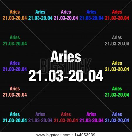 Decorative Zodiac Aries Icon Sign. Lots Of Colorful Symbols For Your Design. Vector