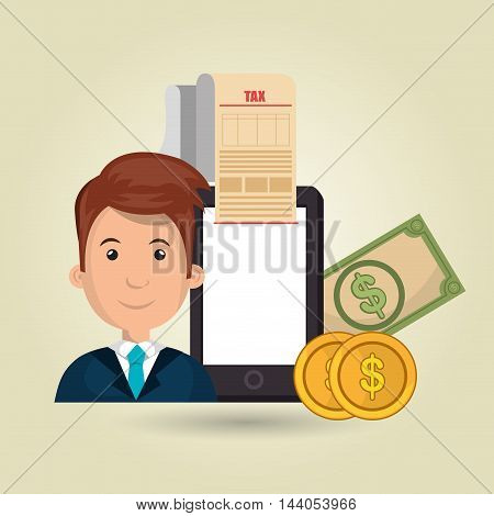 man smartphone taxes money vector illustration eps 10