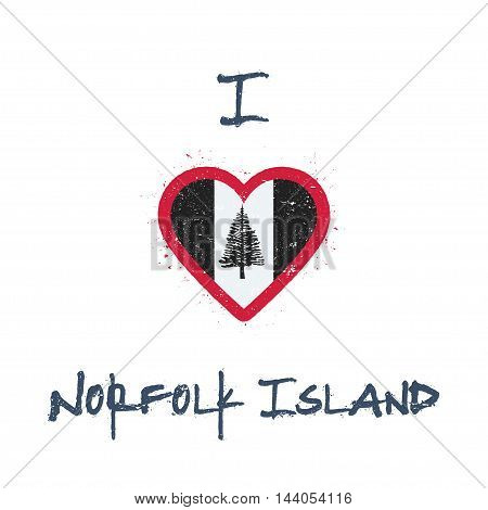 I Love Norfolk Island T-shirt Design. Norfolk Islander Flag In The Shape Of Heart On White Backgroun