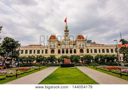HOCHIMINH CITY, VIETNAM - MARCH 13, 2016: People's Committee Building in Sai Gon.