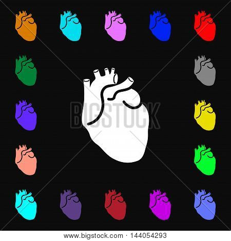 Human Heart Icon Sign. Lots Of Colorful Symbols For Your Design. Vector