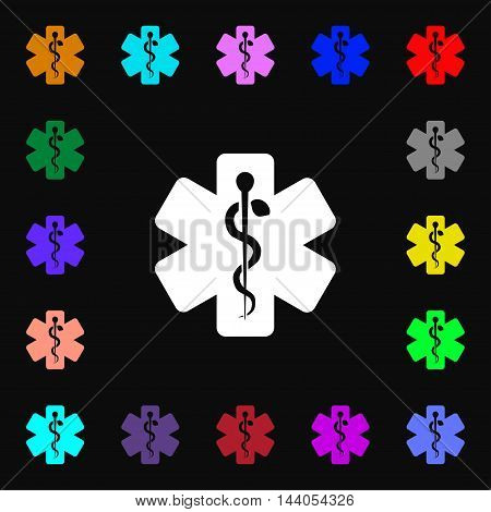 Medicine Icon Sign. Lots Of Colorful Symbols For Your Design. Vector