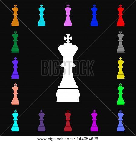 Chess King Icon Sign. Lots Of Colorful Symbols For Your Design. Vector