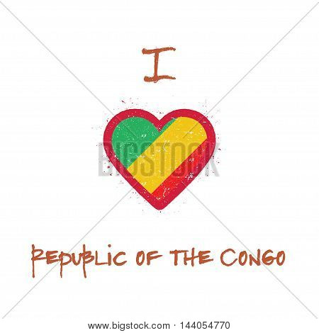 I Love Congo T-shirt Design. Congolese Flag In The Shape Of Heart On White Background. Grunge Vector