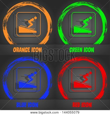 Skier Icon. Fashionable Modern Style. In The Orange, Green, Blue, Red Design. Vector