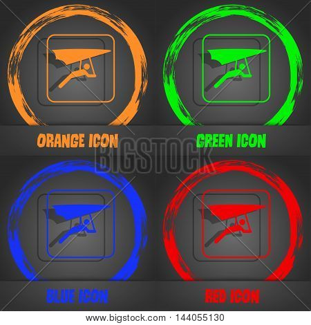 Hang-gliding Icon. Fashionable Modern Style. In The Orange, Green, Blue, Red Design. Vector