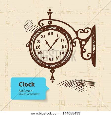 Vintage street clock. Hand drawn vector sketch illustration