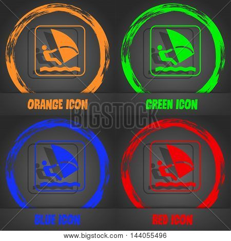 Windsurfing Icon. Fashionable Modern Style. In The Orange, Green, Blue, Red Design. Vector