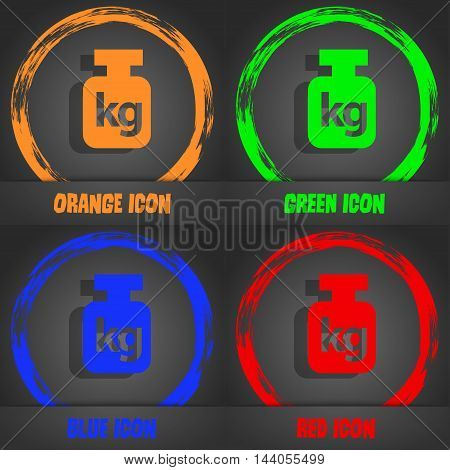 Weight Icon. Fashionable Modern Style. In The Orange, Green, Blue, Red Design. Vector