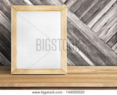 Blank Whiteboard Wood Frame On Wooden Table At Diagonal Wood Wall,template Mock Up For Adding Your D