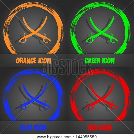 Crossed Saber Icon. Fashionable Modern Style. In The Orange, Green, Blue, Red Design. Vector