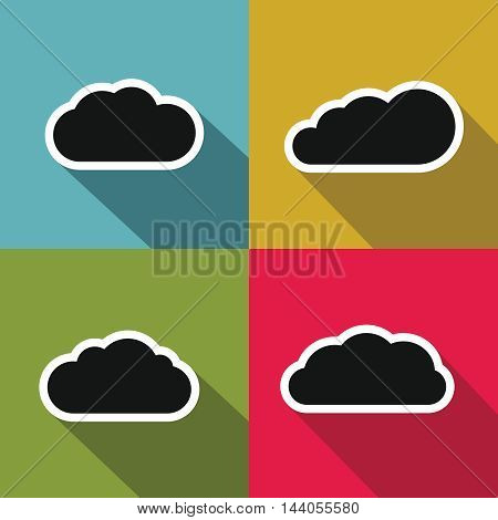 Cloud flat icons with long shadow on color background. Black clouds set. Vector illustration