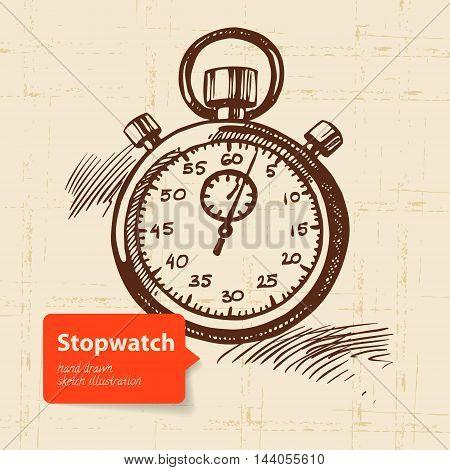 Vintage stopwatch. Hand drawn vector sketch illustration