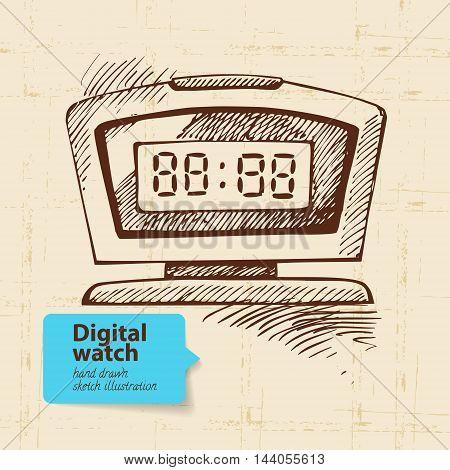 Vintage digital watch. Hand drawn vector sketch illustration