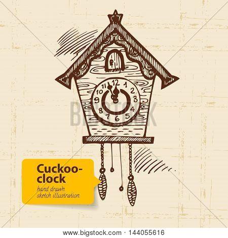 Vintage cuckoo-clock. Hand drawn vector sketch illustration